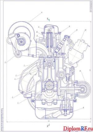 Чертеж поперечного разреза двигателя (формат 2хА1)