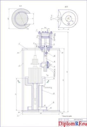 Чертёж установки для выпрессовки обмоток из пазов сердечника якоря (формат А1)