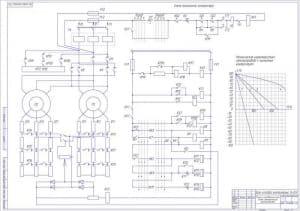 Чертёж схемы электрической принципиальной механизма передвижения крана (формат А1)