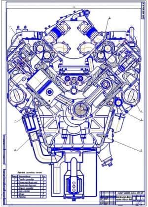 Поперечный разрез двигателя (формат А1)