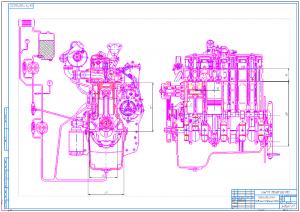 1.Чертеж двигателя продольный поперечный разрез А1