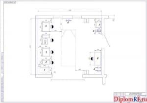 Чертёж планировки участка шиномонтажа (формат А1)