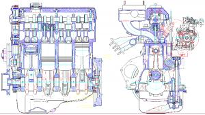 Продольный и поперечный разрез 4-тактного  8-цилиндрового V-образного двигателя жидкостного охлаждения на базе прототипа ЯМЗ-238