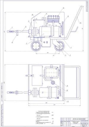 Чертеж общего вида установка для очистки котлов и труб  (формат А1)