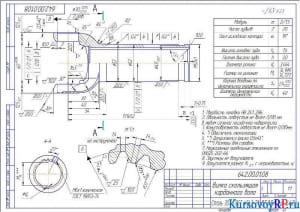 Чертеж Деталь Вилка скользящая карданного вала (формат А3)