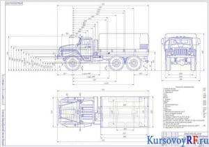 Чертеж общего вида автомобиля Урал 4320-01 (формат А1)