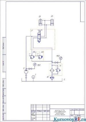 Чертеж схема гидравлическая принципиальная  Бульдозер ДЗ-117А расчетный вариант  (формат А 3)