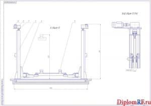 Чертёж общего вида автомобильного электромеханического четырёхстоечного подъёмника (2 формата А1)