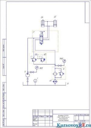 Чертеж схемы гидравлической принципиальной для бульдозера ДЗ-117А расчетный вариант А3