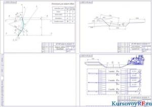 Чертеж (профиль отвала бульдозера, схема определения дальности перемещения грунтовых масс, возведение насыпи из боковых резервов поперечными ходами) А1