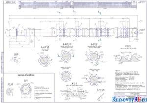 Протяжка шлицевая однопроходная D-6x28H11x32H7x7D9