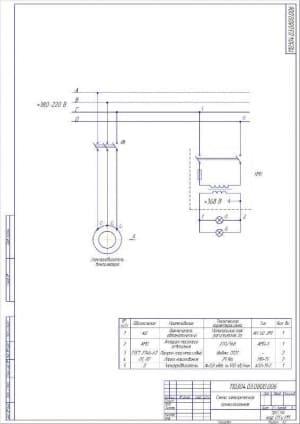 Чертёж электрической схемы (формат А2)