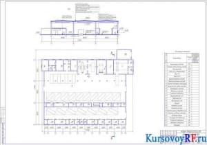 Чертеж производственного корпуса с помещениями