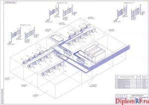 Чертеж схемы подключения трубопроводов агента холодильного (формат А1)