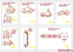 Чертеж конструкции механизма опрокидывания платформы (формат А1)
