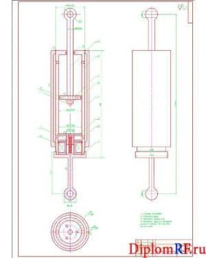 Чертеж сборочный демпфера гидравлического (формат А1)