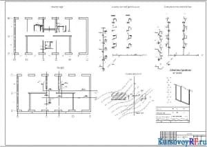 План типового этажа, план подвала, Аксонометрическая схема водоснабжения и канализации. Генеральный план, Продольный профиль канализации