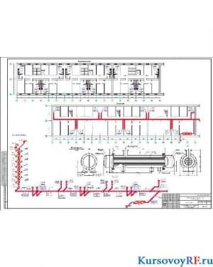 План типового этажа. План подвала. Аксонометрическая схема. Водоподогреватель