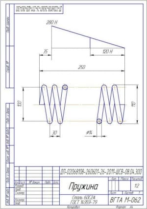 14.Рабочий чертеж детали пружина А4