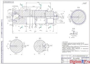 Чертеж детали вал привода масляного насоса (формат А2)