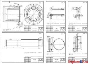 Чертёж деталировки (цапфы электромашины, стойки, тяги, наконечника, крышки, крышки подшипника) (формат А1)