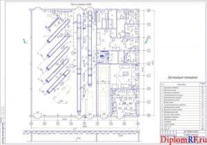 Схема производственный комплекс после реконструкции с расстановкой оборудования (формат А 1)