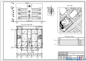Чертеж фасада 1-6, плана этажа на отметке, генплан, экспликация к генплану трехэтажного жилого дома на шесть квартир