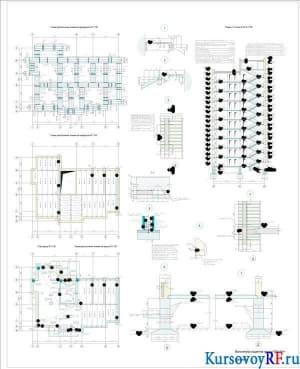 Схема расположения элементов фундамента, перекрытия и крыши, разрез 1-1