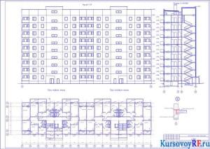 Фасад 1-17, разрез 1-1, схемы планов первого и типового этажей