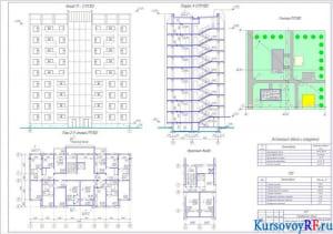 Фасад 11-1; план 2-9 этажей; разрез 1-1; генплан