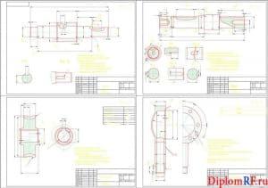 Чертеж деталей: червяк, вал, крышка в сборе и червячное колесо (формат А1)