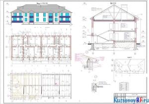 Фасад 1-11, план 1-ого и 2 -ого этажей, план стропил и перекрытий, разрез 1-1, план крыши узел 1, узел 2