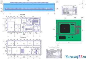 Фасад, план первого и второго этажа АБК, генеральный план, технико-экономические показатели по генплану, экспликация площадок по генплану