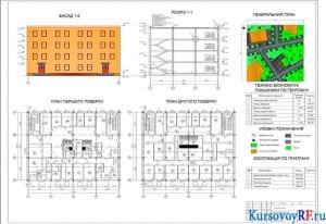 Фасад 1-5, план 1-го и 2-го этажей, разрез 1-1, генплан, ТЭП по генплану