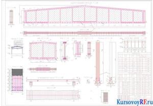План, разрез, схема вертикальная, дощатый настил по прогонам, дощато-гвоздевая балка, клееная колонна