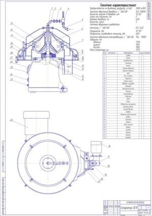 1.Сборочный чертеж творожного сепаратора модели ОСЯ А1