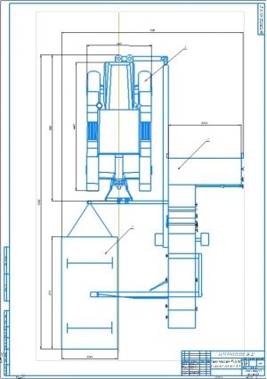 Схема трактора РТ-М-160 с прицепным комбайном ПК-5 А1 с указанием параметров