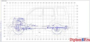 Чертеж общего вида шасси автомобиля (формат А2×3)