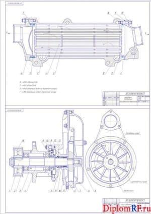 Чертеж охладителя водяного и насоса забортной воды (формат А1)