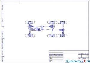 Чертеж кинематической схемы автомобиля (формат А3)