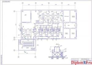 Чертеж плана цеха компрессорного и установки холодильной (формат А1)