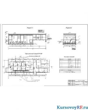 План насосной станции II подъема, разрез 1-1, разрез 2-2