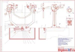 Чертеж стенда для монтажа и демонтажа V-подобных двигателей (формат А1)