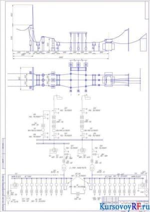 ОРУ - 110кВ, Разрез и план ячейки линии, Чертёж общего вида