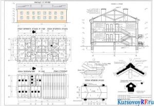 Фасад в осях 1-7 М1:100; Совмещённый план этажа М1:100; Совмещённый план чердачного перекрытия и план расположения стропил М1:100; Разрез 1-1 М1:100; План кровли М1:200; Узлы: 1, 2, 3