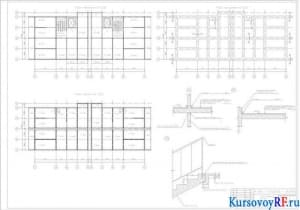 Фасад 1:100, план 1-ого этажа 1:100, архитектурный разрез 1:100, план кровли 1:400 (формат 2хА1)