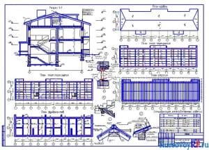 Разрез М1:50, план перекрытия 1-200, план покрытия 1-200, план фундаментов 1-200, план стропил 1-200, план кровли 1-200, узлы 1-20