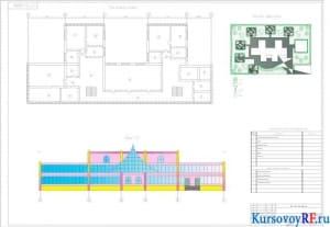 Генплан территории, план второго этажа, Фасад 1-10