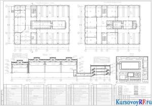Планы 1, 2-го этажей АБК, Разрез 1-1, Генплан