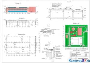 Фасад 17-1, разрез 1-1, план на отм. о.ооо, генплан, узлы